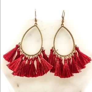 NEW Trina Tassel Earrings- Red